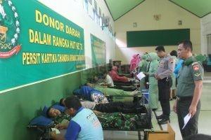 Kegiatan sosial donor darah Kodim 0708/Purworejo. (Wid)
