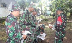 Para prajurit TNI sedang serius menjalani Uji Trampil Jabatan (UTJ) Bintara dan Tamtama yang digelar di Komplek Makodim 0708 Purworejo hari ini. (Wid)